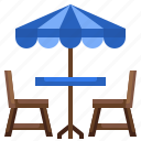 chairs, restaurant, sun, terrace, umbrella icon