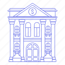 bank, building, capital, city, credit, dollar, financial, institution, money, save, services, withdraw icon
