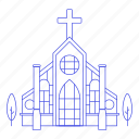 building, cathedral, chapel, christian, church, city, cross, public, religion, services icon