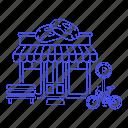 bench, bike, building, city, dessert, donut, doughnut, drinks, food, parking, shop, store, sweet icon