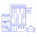 1, building, car, city, hostel, hotel, journey, lodging, taxi, travel, trip, vacation icon