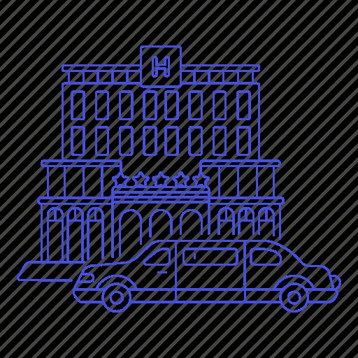 2, building, car, city, five, hotel, inn, limousine, lodging, luxury, resort, stars, vacation, vehicle icon