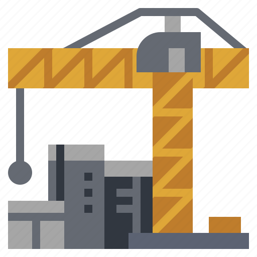 buildings, construction, hoist, machinery, site, tower, winch icon