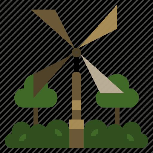 ecological, engine, power, source, turbine, vane, wind icon