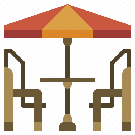 chairs, city, food, restaurant, sun, terrace, umbrella icon