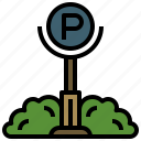 automobile, car, parking, sign, signs, transport, vehicle icon