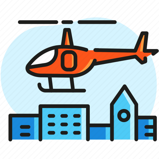 ambulance, city, excursion, helicopter, police, transport icon