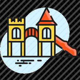 castle, children, city, entertainment, park, playground, recreation icon