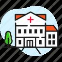 ambulance, building, city, emergency, facade, hospital icon