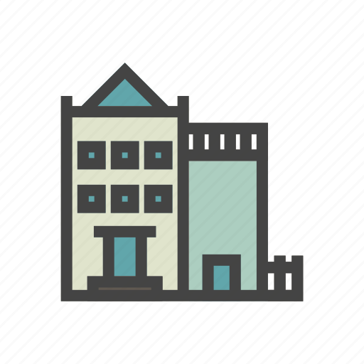 apartment, city, elements, house, park, people, town icon