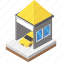 car garage, car parking, car services, cityscape, parking zone icon