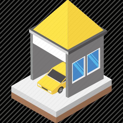 car garage, car parking, car services, cityscape, parking zone icon