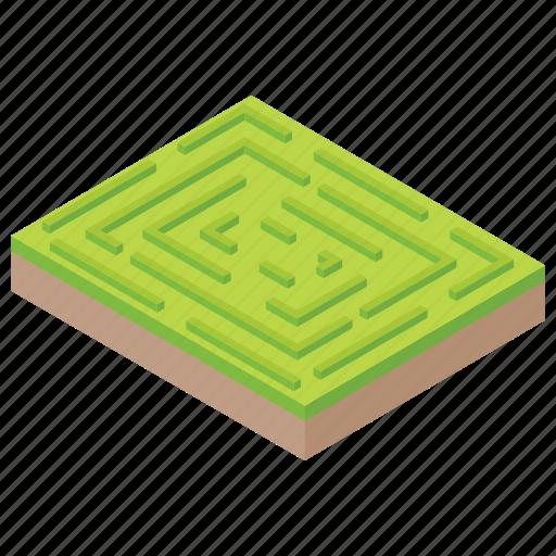 cityscape, garden maze, greenery, maze path, park icon