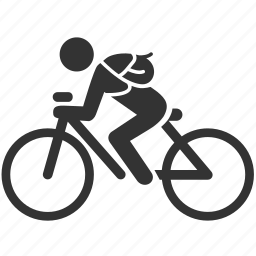 bicycle, bicyclist, cyclist, messenger, transportation icon