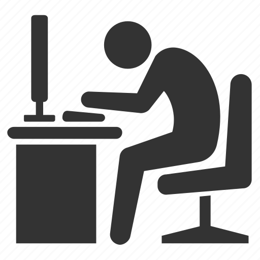 Office, Officer, Typing, Work, Work Hours, Worker, Working Icon