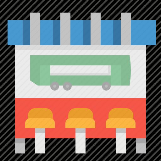 bench, bus, stop, transportation, urban icon