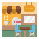 buildings, cafe, coffee, park, shop icon