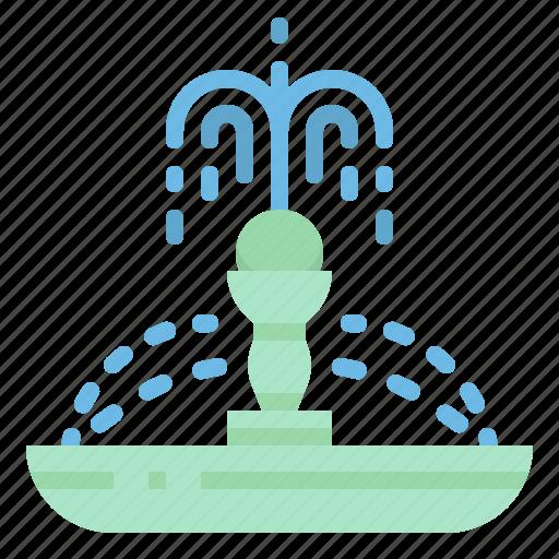 city, fountain, garden, urban, water icon