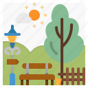bench, city, lamp, park, tree icon