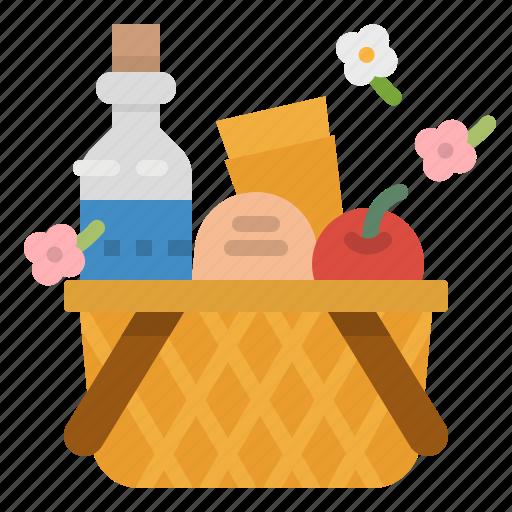 basket, camping, food, holiday, picnic icon