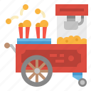 cart, food, popcorn, stand, street icon