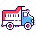 dump truck, dumper, tipper truck, transport, truck, vehicle icon