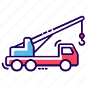 crane truck, lifter, luggage lifter, tow, tow truck, transport icon