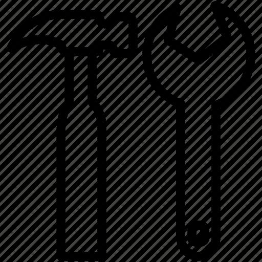 build, diy, hammer, project, repair, settings, tools icon