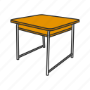 education, desk, furniture, office supply, school supply, school table, table icon