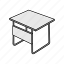 desk, furniture, office supply, school supply, school table, table icon