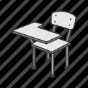 chair, furniture, school chair, school supply, arm chair, desk