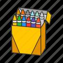 classroom, color, crayon, design, drawing, school, school supply icon