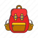 classroom, education, backpack, bag, knapsack, travel icon