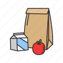 eat, snacks, bag, food, lunch icon