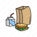 classroom, education, food, lunch, meal, sandwich, snack icon