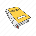book, classroom, education, english, english book, school study, study icon