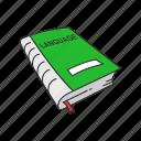 book, classroom, education, language, language book, school supply icon
