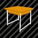 classroom, desk, office supply, school supply, school table, table icon