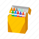 color, crayon, draw, education, kid material, school supply icon