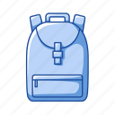 back pack, bag, education, knapsack, office, school supply, travel icon