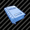 book, classroom, education, educational book, english, english book, read icon