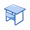 desk, furniture, office supply, school suppyl, table icon