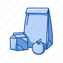 apple, bag, food, lunch, meal, snack icon