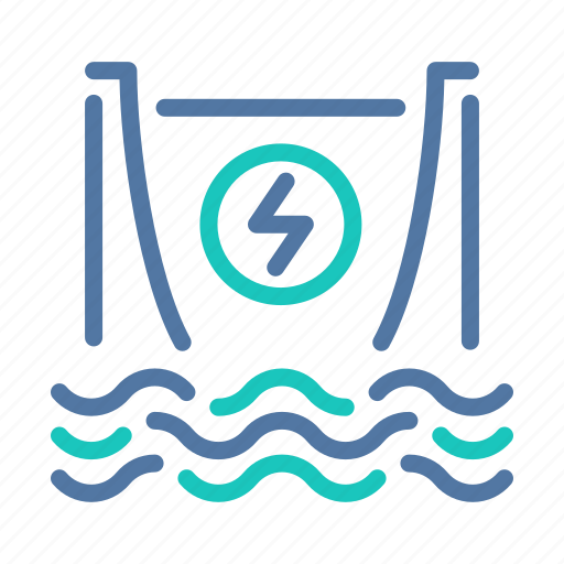 clean, dam, electricity, hydroelectric, power, production, water icon