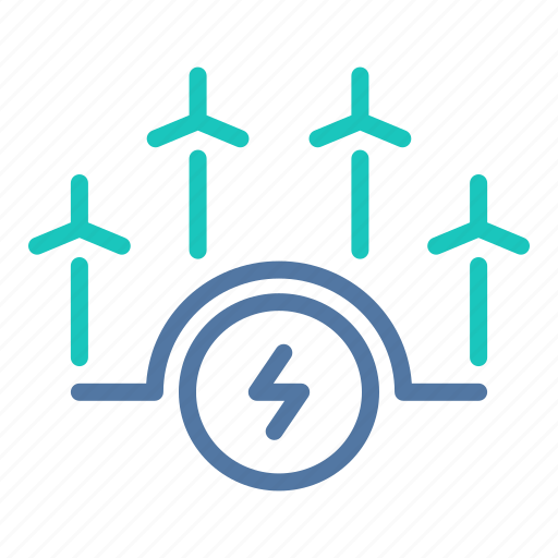 electric, electricity, grid, power, renewable, turbines, wind icon