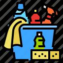 bucket, cleaning, glove, sponge icon