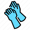 cleaning, gloves, industrial, rubber icon