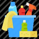 bucket, cleaning, glove, sponge