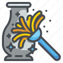 broom, brush, clean, cleaning, dust, dusting, sweep icon