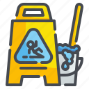 bucket, cleaning, floor, mop, signaling, warning, wet